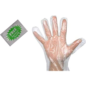 bvslf 300 Pcs Transparent Disposable Clear Plastic Hand Gloves