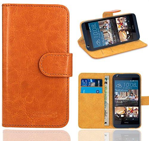 HTC Desire 626 626G Handy Tasche, FoneExpert® Wallet Case Flip Cover Hüllen Etui Ledertasche Lederhülle Premium Schutzhülle für HTC Desire 626 626G (Wallet Orange)