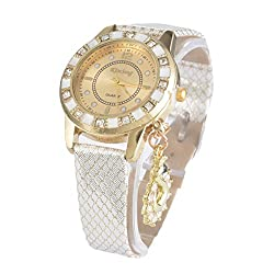 Artificial Leather Rhinestone Pendant Quartz Wrist Watch White
