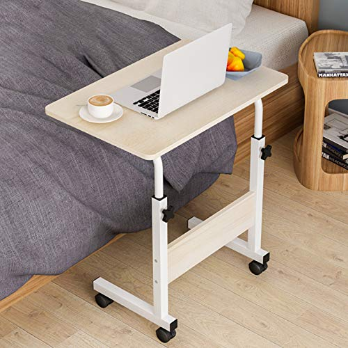 WSJIANP Computer Desk,Portable Height-adjustable Mobile Desk,Stand Office Desk With 4 Rolling Wheels,Laptop Table