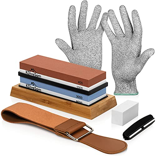 Sharpening stone for knives set kdivesam knife whetstone premium 4 side 400/1000 3000/8000 grit wet stones sharpening kit with non-slip bamboo base leather strop angle guide and cut resistant glove