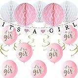 Layal Design Baby Shower Deko Set - Für eine Its a Girl Mädchen Babyparty (24 Teilig)