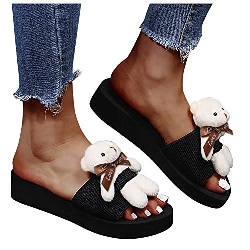 Sandales d'été pour femme - Tongs - Mode - Plat - Avec petit ours - Pour l'été - Tongs - Décontractées - Plage - Chaussures plates élégantes - Pour femme et fille