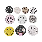 A/N Sew On/Iron On Patch Embroidery Badge Patch, Suitable for DIY Jackets T-Shirt Backpacks, Jeans, 10 Stück süße Smiley-Serie heißen Strass-Anzug