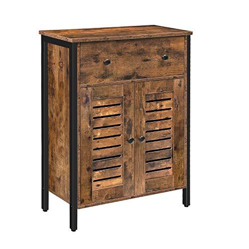 HOOBRO Kommode Schrank mit 1 Schubladen, 1 eingebauten verstellbaren Regalen, Lamellentüren, Beistellschrank, Sideboard, Küchenschrank, multifunktional, Wohnzimmer, Flur EBF25CW01