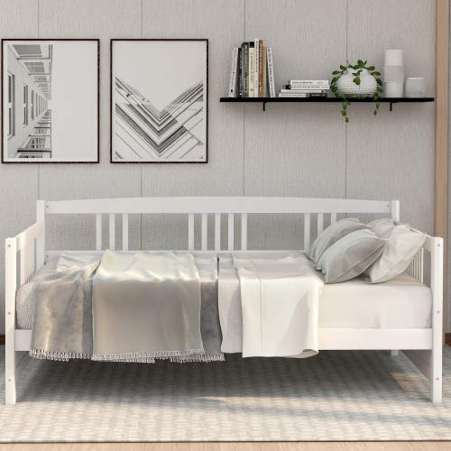 Solid Wood Daybed, Multifunctional, Twin Size, White