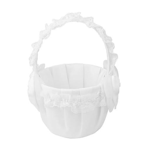 Imported White Satin Bowknot Wedding Flower Girl Basket Faux Pearl Rhinestone Decor
