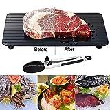 Alwayswe Tablett zum schnellen Auftauen, für gefrorene Lebensmittel/Fleisch, schnelles Auftauen und schnelles Auftauen in Minuten, mit Klemm-Grillzange