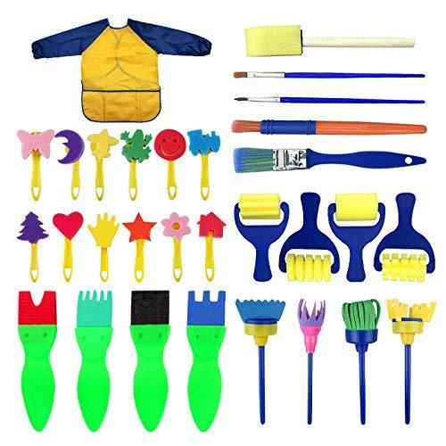 30 Stück Kinder Pinsel Set, wasserdichte Farbe Schürze Schwamm Spielzeug Bastelsets, Kleinkind Set zum Malen für Kinder Kinder DIY Zeichnen, 5 Arten von Werkzeug