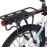 Enkrio 自転車荷台 軽量 伸縮自在 リアキャリア 耐荷重50KG 後付け 荷物ラック 簡単取付け 反射板付き (ブラック)