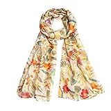 Miss Lulu Bufanda de moda para mujer con estampado floral de pájaro, bufandas largas y suaves, cuello chal para verano, playa, invierno