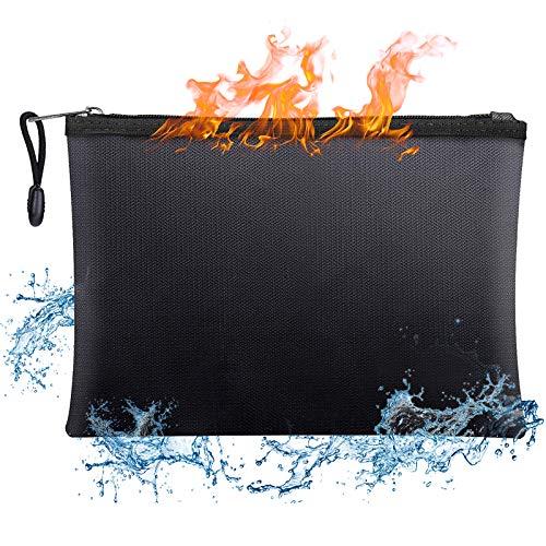 BluePower Bolsa de Documento Ignífuga y Impermeable A4 15'× 11',Bolsa de Batería Seguridad Anti Explosión,porta sobres con cremallera para documentos A4apta para,efectivo, factura,iPad,teléfono móvil