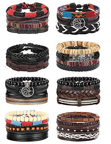 Finrezio 30Pcs Leather Bracelet Wrap Cuff Bracelets for Men Women Hemp Cords Wood Beads Ethnic Tribal Bracelets Adjustable