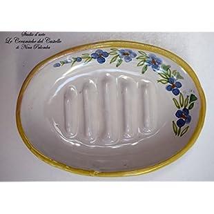 Ceramic Soap Dish Unique Manufact Handmade Le Ceramiche del Castello Made in Italy Dimensions 13 x 9.5 centimeters.:Netac2