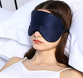 Silk Sleep Mask & Blindfold, Soft Eye Mask with Adjustable Head Strap, Deep Rest Eye Masks for Sleeping Night Eyeshade, Eye Cover for Travel, Shift Work & Meditation (Navy blue)