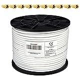PremiumX - 100m cable coaxial SAT cable de antena cable coaxial 130dB, 4 veces blindado para sistemas DVB-S / S2 DVB-C y DVB-T BK + 10 conectores F chapados en oro SET gratis