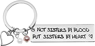 Ms.Clover Sisters by Heart Hand Stamped Keychain, Not Sisters by Blood But Sisters by Heart, Soul Sister Gift (White)