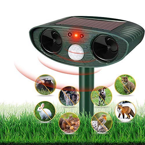 HOPSEM Cat Scarer Cat Repellent Ultrasonic Solar Powered Waterproof Animal Deterrents for Gardens Motion Activated Sensor Pest Repeller for Farm Dogs Fox Birds etc (Upgraded)