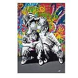 Domrx Graffiti Wall Art Modern Graffiti Street Art Abstract Boy Kiss Girl Lienzo Pintura Póster e Impresiones Banksy Pop Cuadro de Arte de Pared 40x60cm / 15.7'x23.6 Marco Interno