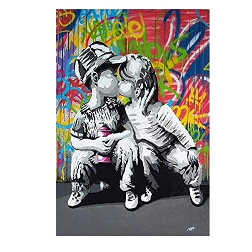 "Domrx Graffiti Wall Art Modern Graffiti Street Art Abstract Boy Kiss Girl Lienzo Pintura Póster e Impresiones Banksy Pop Cuadro de Arte de Pared 40x60cm / 15.7""x23.6 Marco Interno"
