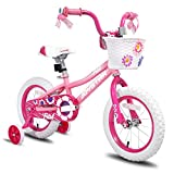 JOYSTAR 16 inch Kids Bike for 4 5 6 Years Girls, Child Bicycle with Training Wheels & Basket & Streamer, Pink Toddler Cycle