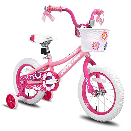 JOYSTAR 14 inch Kids Bike for 3 4 5 Years Girls, Child Bicycle with Training Wheels & Basket & Streamer, Pink Toddler Cycle