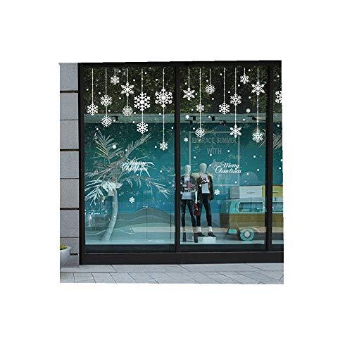 ODJOY-FAN Weiß Schneeflocke Glasaufkleber Fröhlich Weihnachten Haushalt Zimmer Fenster Mauer Aufkleber Wandgemälde Dekor Abziehbild Entfernbar Wandtattoos (58cmx138cm) (Weiß,1 PC)