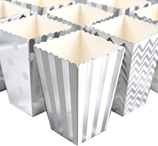 HansGo Popcorn Boxes, 36PCS Silver Striped Paper Popcorn Boxes Cardboard Candy Container for Birthday Theater Themed Parties Movie Nights Carnivals