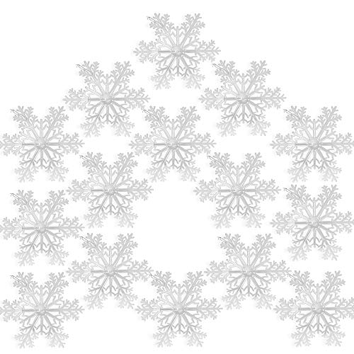 BANBERRY DESIGNS Snowflake Ornaments - Set of 15 - Clear Acrylic Large Snowflakes with Frosted Tips - Approximately 12' in Diameter