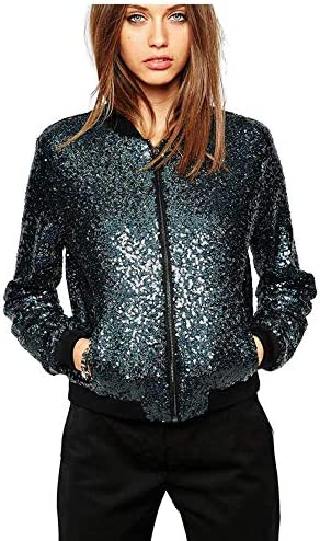 Women s Sequin Blazer Long Sleeve Clubwear Sparkly Zipper Front Bomber Jacket Navy L product image