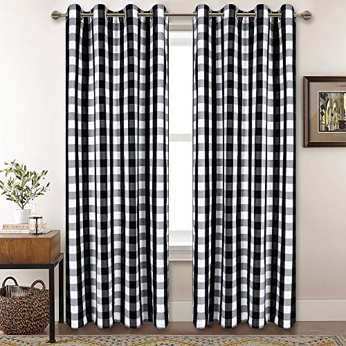 Black and White Buffalo Checker Plaid Curtains for Farmhouse Bedroom Gingham Light Filtering Window Drapes Grommet Curtains for Living Room Set of 2 Panels Each is 52Wx84L