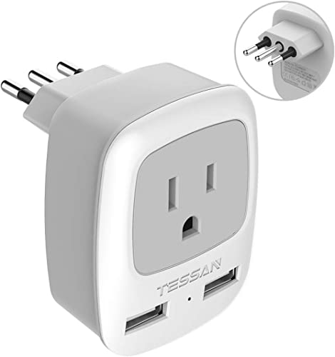 Italy Travel Power Adapter, TESSAN 3 Prong Grounded Plug with Dual USB Charging Ports, Type L Outlet Adaptor Charger ...