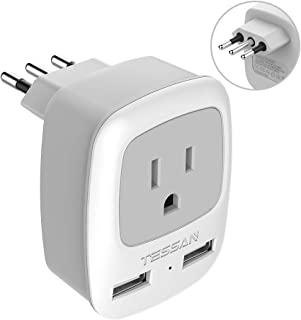 Italy Travel Power Adapter, TESSAN 3 Prong Grounded Plug with Dual USB Charging Ports, AC Outlet Adaptor for USA to Italy Uruguay Chile Italian (Type L)