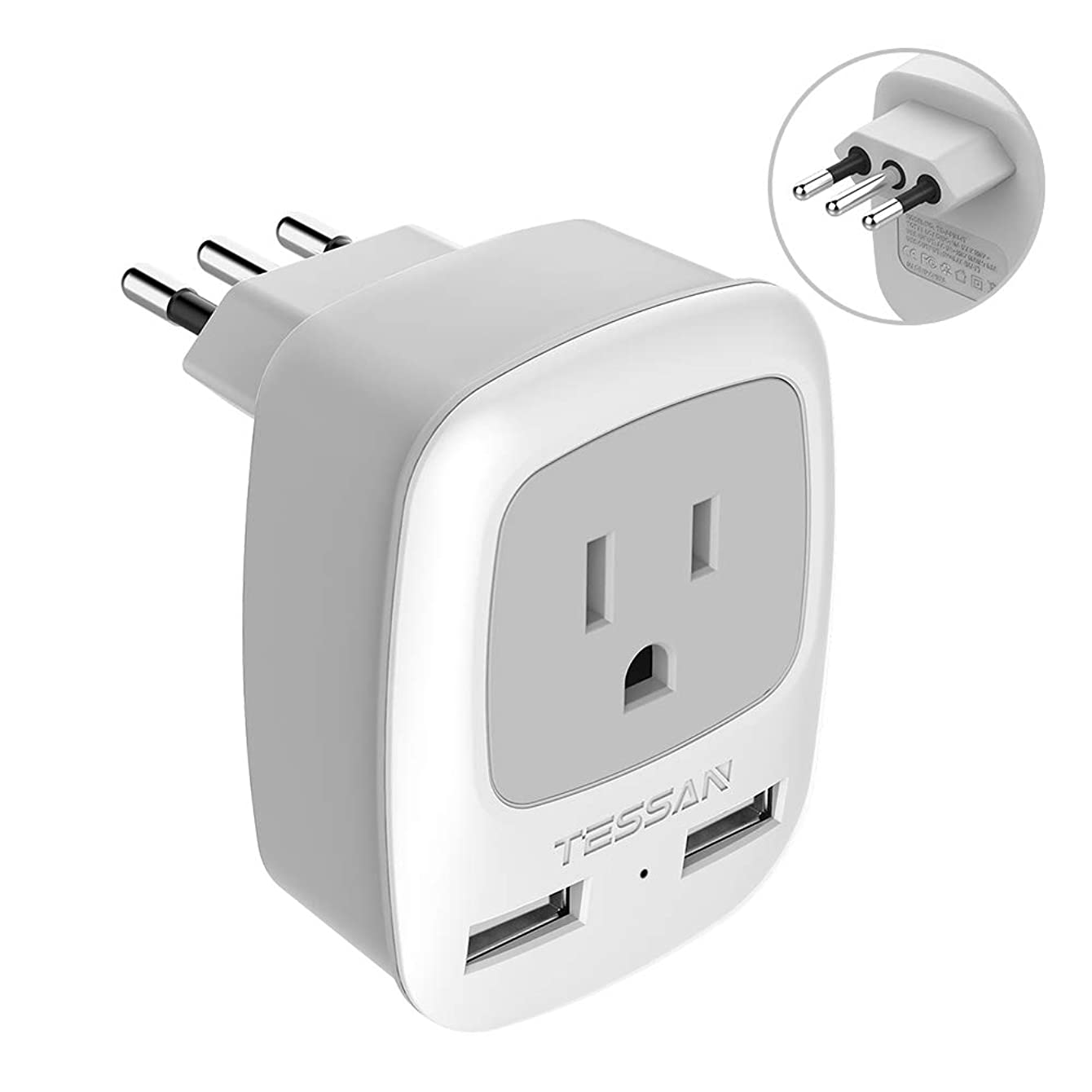 Italy Travel Power Adapter, TESSAN 3 Prong Grounded Plug with Dual USB Charging Ports, 3 in 1 AC Outlet for USA To Italy Uruguay Chile (Type L)