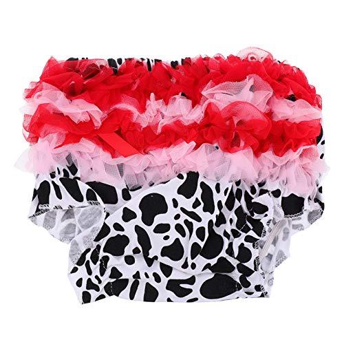 Amosfun Dziewczęce majtki koronkowe marszczone Bloomers Cartoon bawełna wyluzowana pieluchy dla dziewczynek