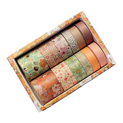 12 Rolls Washi Tape Set, Cute Masking Washi Tape, Japanese Decorative Crafts Tapes for Bullet Journaling Planner DIY Gift Wrapping (Orange)