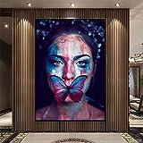 wZUN Pintura de Lienzo Mujer Sexy con Boca lesionada y Cartel de Mariposa e impresión Mural decoración de la Sala de Estar Cartel de Pintura 60x90 Sin Marco