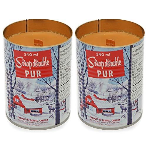 MapleFarm - 2 bougies parfumées au sirop d'érable en boîte traditionnelle canadienne. Mèche en bois. Maple syrup candle.