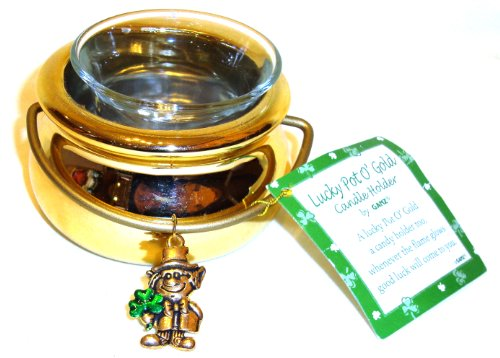 St. Patrick's Day Lucky Pot O' Gold Leprechaun Tealight Candle Holder By Ganz