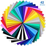 Heat Transfer Vinyl, Ohuhu 42 Pack Sheets Iron on Vinyl, 20 Assorted Colors HTV Vinyls Heat Transfer Vinyl for DIY Iron on Fabrics T-Shirts Hats Leathers with Heat Press Machine Craft Valentine's DIY