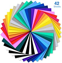 Heat Transfer Vinyl, Ohuhu 42 Pack Sheets Iron on Vinyl, 20 Assorted Colors HTV Vinyls Heat Transfer Vinyl for DIY Iron on Fabrics T-Shirts Hats Leathers with Heat Press Machine Craft Father's Day DIY