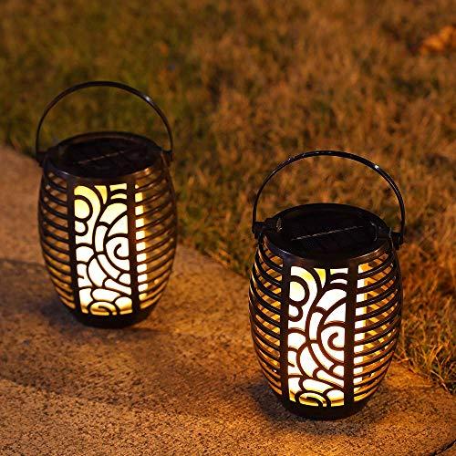 JHY DESIGN Juego de 2 luces de linterna solar Lámpara colgante Luces para exteriores con mango Lámpara de mesa solar LED decorativa para porche,