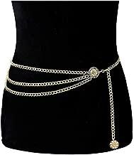Eoumy Women Multilayer Metal Link Waist Chain Waist Belt Long Tassel Sun Charm Belly Chains Waistbands Body Jewelry