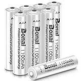 BONAI 単4形 充電式電池 ニッケル水素電池 8個パックCEマーキング取得 UL認証済み 自然放電抑制 液漏れ防止設計 環境友好タイプ(高容量1100mAh 約1200回使用可能)