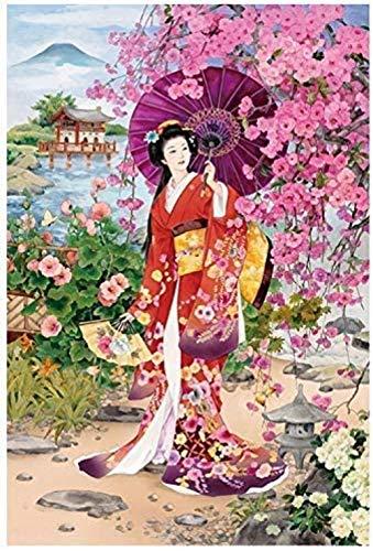 Zyysyzsh Puzzels 500 Stukjes Volwassen Houten Puzzels Classic Puzzel Vrije Tijd Creatieve Spelletjes,Japanse Vrouw In Een Kimono