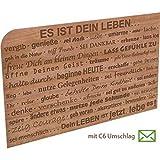Grußkarte aus Holz - Es ist dein Leben mit Umschlag