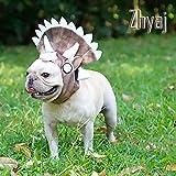 Zhyaj Cani Triceratops Copricapo Animale Bulldog Francese Capelli d'oro Vestito trasformato Adatto per Feste, Natale e Halloween Pet Cappello