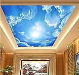 H&M Wallpaper PVC Selbstklebende Tapete 3D Blauer Himmel weiß Wolken Dekoration Wohnzimmer Restaurant TV Wand Decke Tapeten /2 * 3=6 Quadratmeter