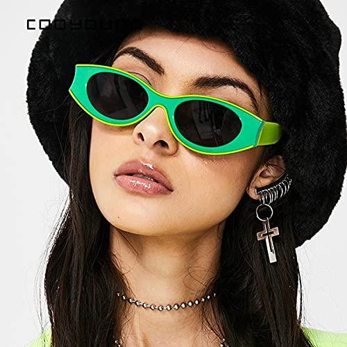 ShZyywrl Gafas De Sol Vintage Pequeño Ojo De Gato Mujeres Gafas De Sol Hombres Personalidad De La Moda Verde Amarillo Ovalado Gafas De Sol