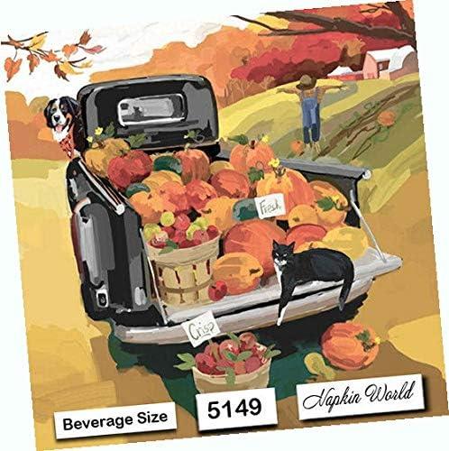 Autumn Truck Inexpensive Paper Napkins Cockta Gifts Beverage Decorative Individual